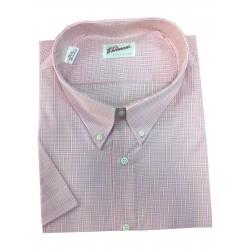 Košile kostkovaná růžovobílá s krátkým rukávem v nadměrné velikosti