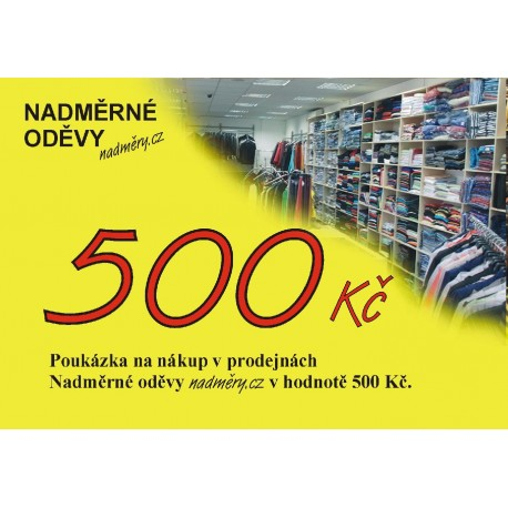 Poukázka na nákup v prodejnách Nadměrné oděvy Nadměry.cz