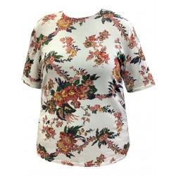 Dámské tričko s květinovým vzorem v nadměrné velikosti